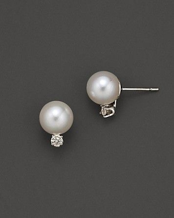 Akoya Pearl And Diamond Stud Earrings Bloomingdale S
