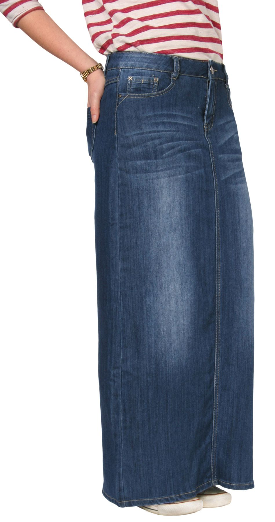 Fabulous full length denim skirt with belt loops & front zip ...