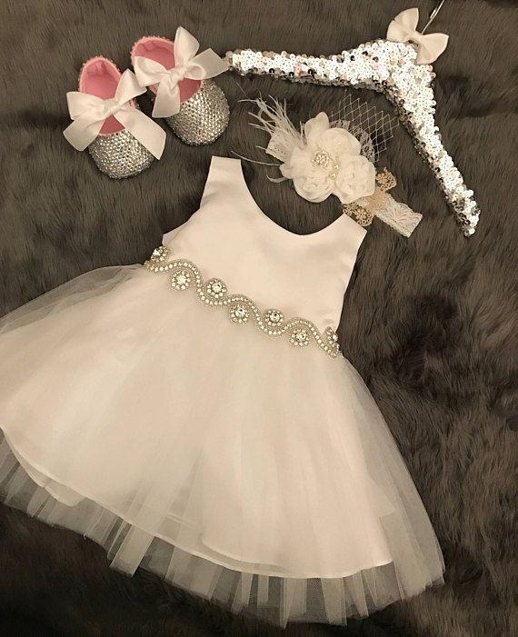 Baby Taufe Taufe Kleid Taufe Kleid Satin Tüll Baby Kleid