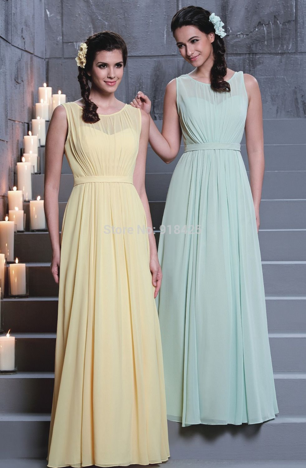 New arrival illusion neck chiffon long yellowmint green new arrival illusion neck chiffon long yellowmint green bridesmaid dresses elegant sleeveless for wedding ombrellifo Choice Image