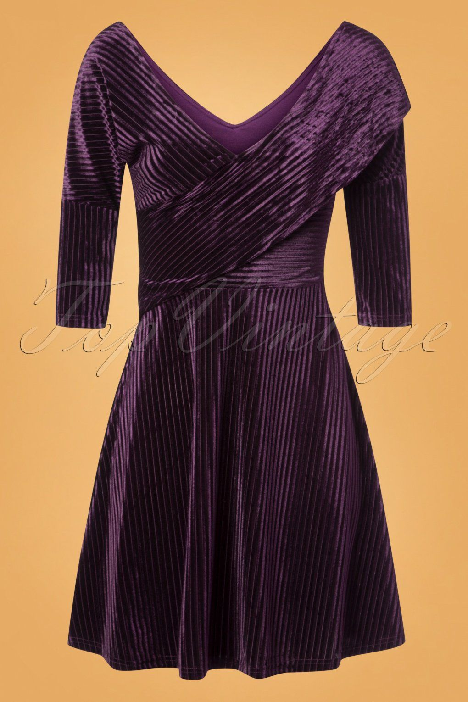 87dad60e619f 50s Veronica Velvet Swing Dress in Purple