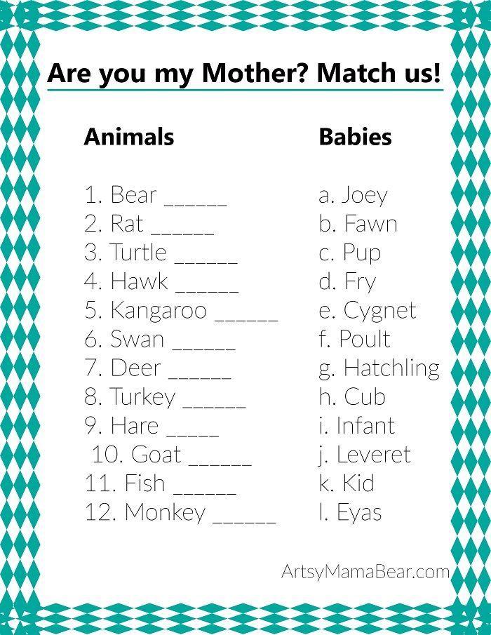 Amazing Animal Matching Baby Shower Game (+Free Printable