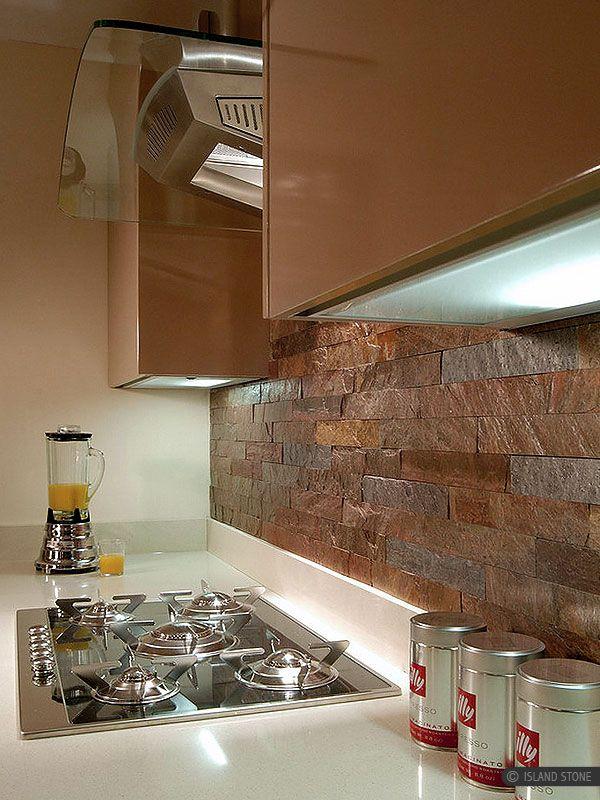 Modern kitchen with copper color slate kitchen backsplash tile