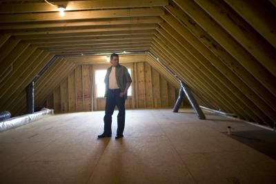 How To Decorate A Small Attic Room With A Pitched Ceiling Attic Flooring Attic Renovation Garage Attic