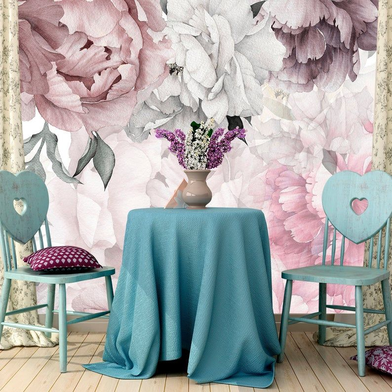 Peonies Wallpaper Removable Floral Wallpaper Peonies Etsy In 2021 Peony Wallpaper Nursery Wallpaper Floral Wallpaper