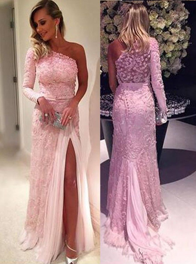 Stylish One Shoulder Long Sleeve Sweep Train Pink Lace Prom Dress ...