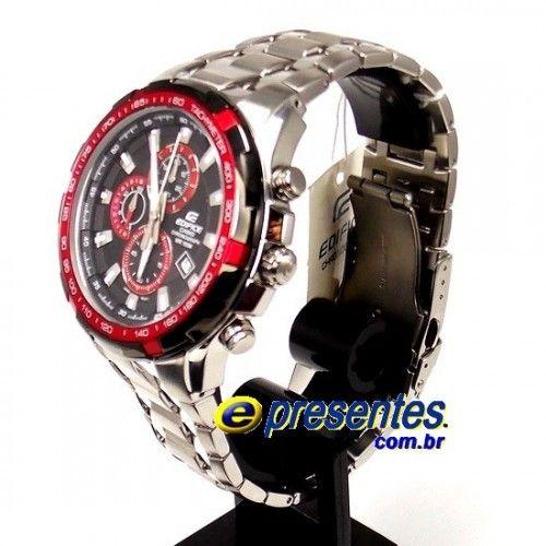 cfaf4a2a8ef EF-539D-1A4V Relógio de Pulso CASIO EDIFICE Fundo Preto   vermelho ...
