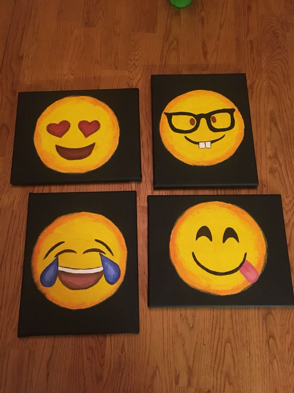 This Was My First Time Painting On Canvas Super Easy And Really Cute Emojis Emojiclassroom Kids Canvas Art Kids Canvas Painting Kids Painting Party
