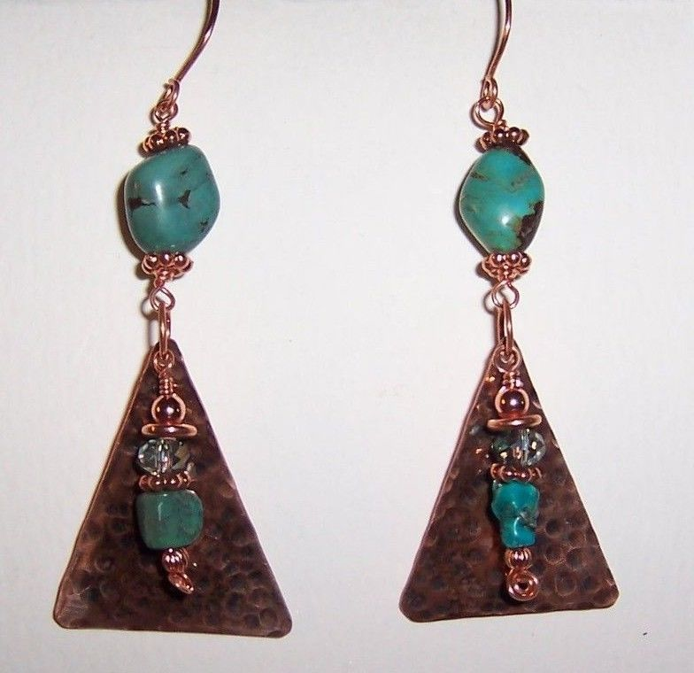 Hammered Copper With Turquoise and Crystal Earrings #Handmade ...