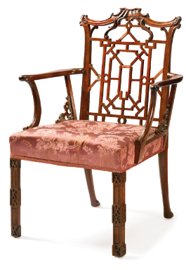 A George III mahogany 'Chinese' open armchair after a design by Thomas Chippendale Circa 1765 - Sotheby's