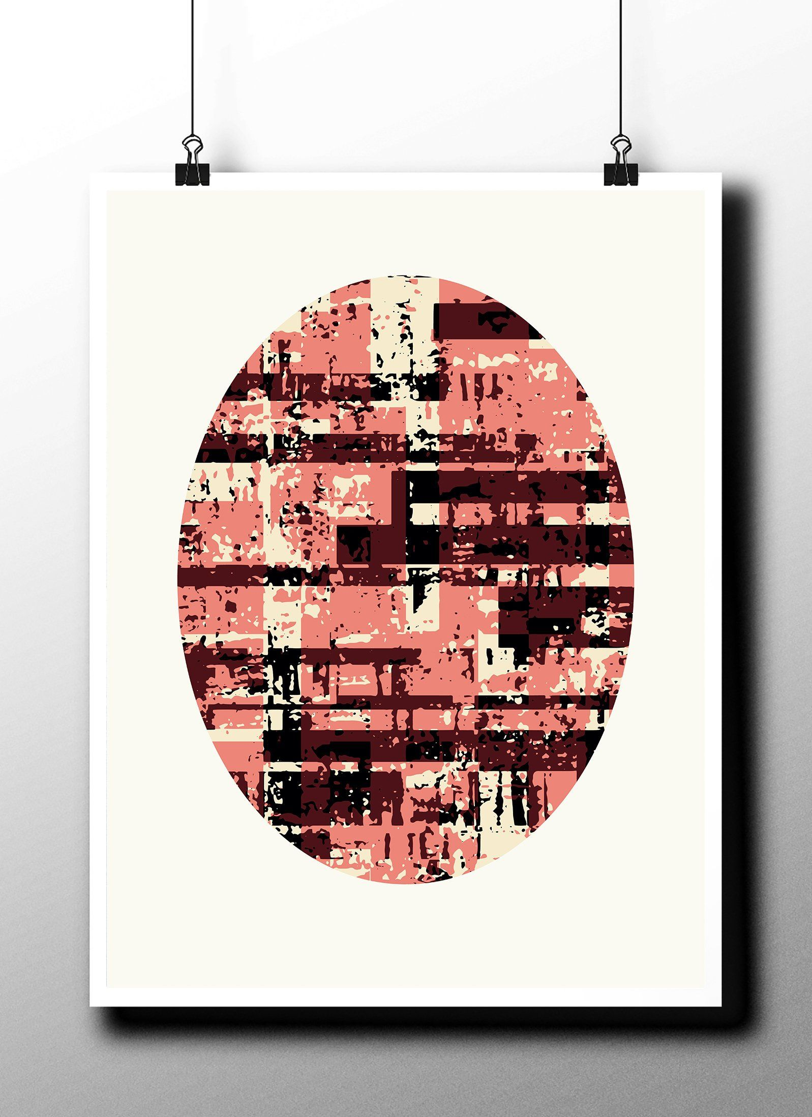 Abstract color downloadable printable posterellipse oval wall art modern decor print digital grunge geometric shapes graphic design by strnart on etsy