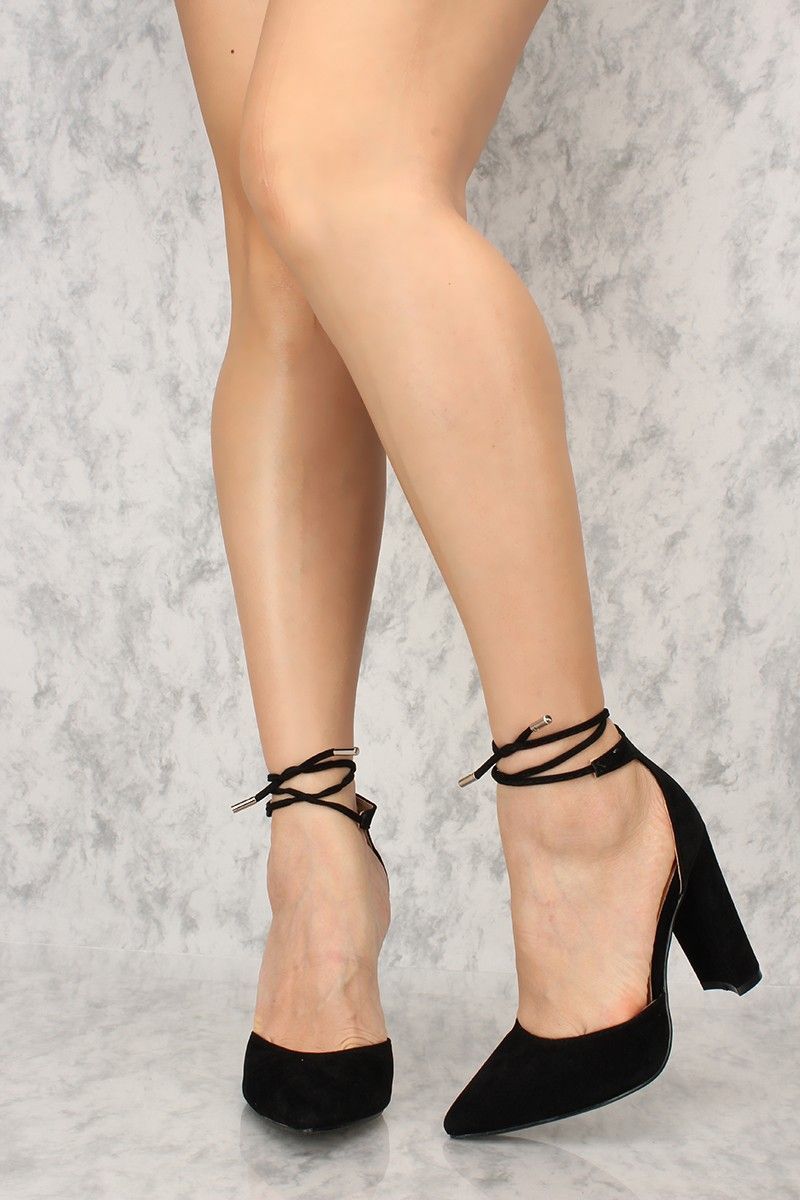 09cbef6bb4d Buy Sexy Black Pointy Toe Warp Around Ankle Strap Chunky Heels with cheap  price and high quality Heel Shoes online store which also sales Stiletto  Heel ...