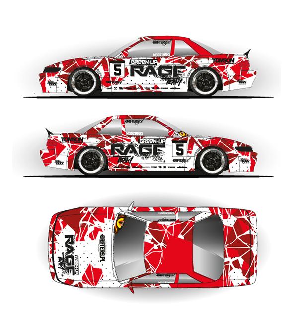 Rage Tem Nissan Silvia S13 livery | Wrap design | Car