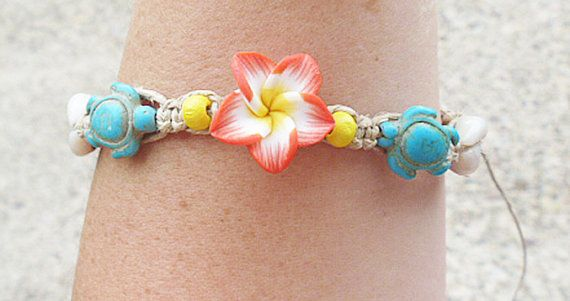 Turtles Shells and Flower Hemp Anklet  by sherrishempdesigns