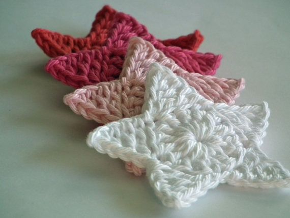 Crochet Star Applique - Set of 4, White, Pink, Hot Pink And Red on ...