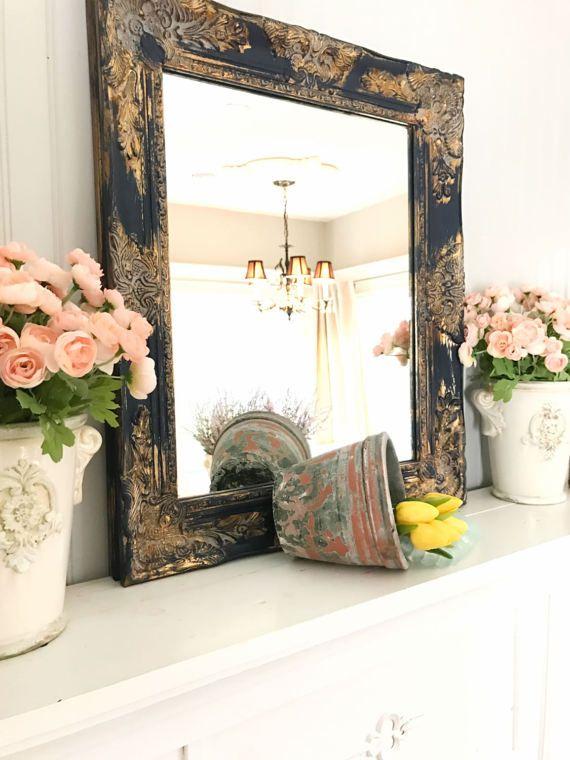 c15b8fe5a88be Navy Blue Gold Framed Shabby Chic Wall Mirror Bathroom Vanity Mirror Salon Mirror  Baroque Ornate Mirror Custom Colors Available