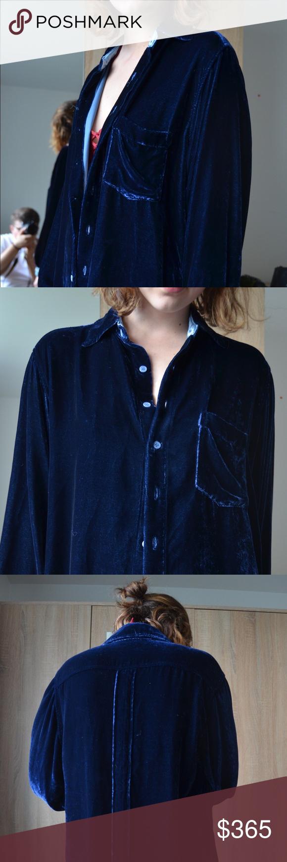Afterlife Midnight Blue Velvet Dress Shirt My Posh Closet