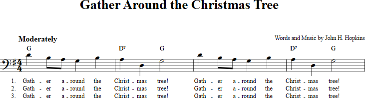 gather around the christmas tree sheet music with chords and lyrics for b flat instruments
