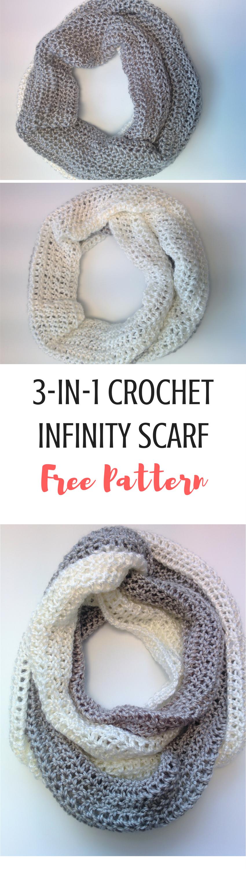 3-in-1 Infinity Scarf FREE Crochet Pattern | Blusas lindas, Tejido y ...