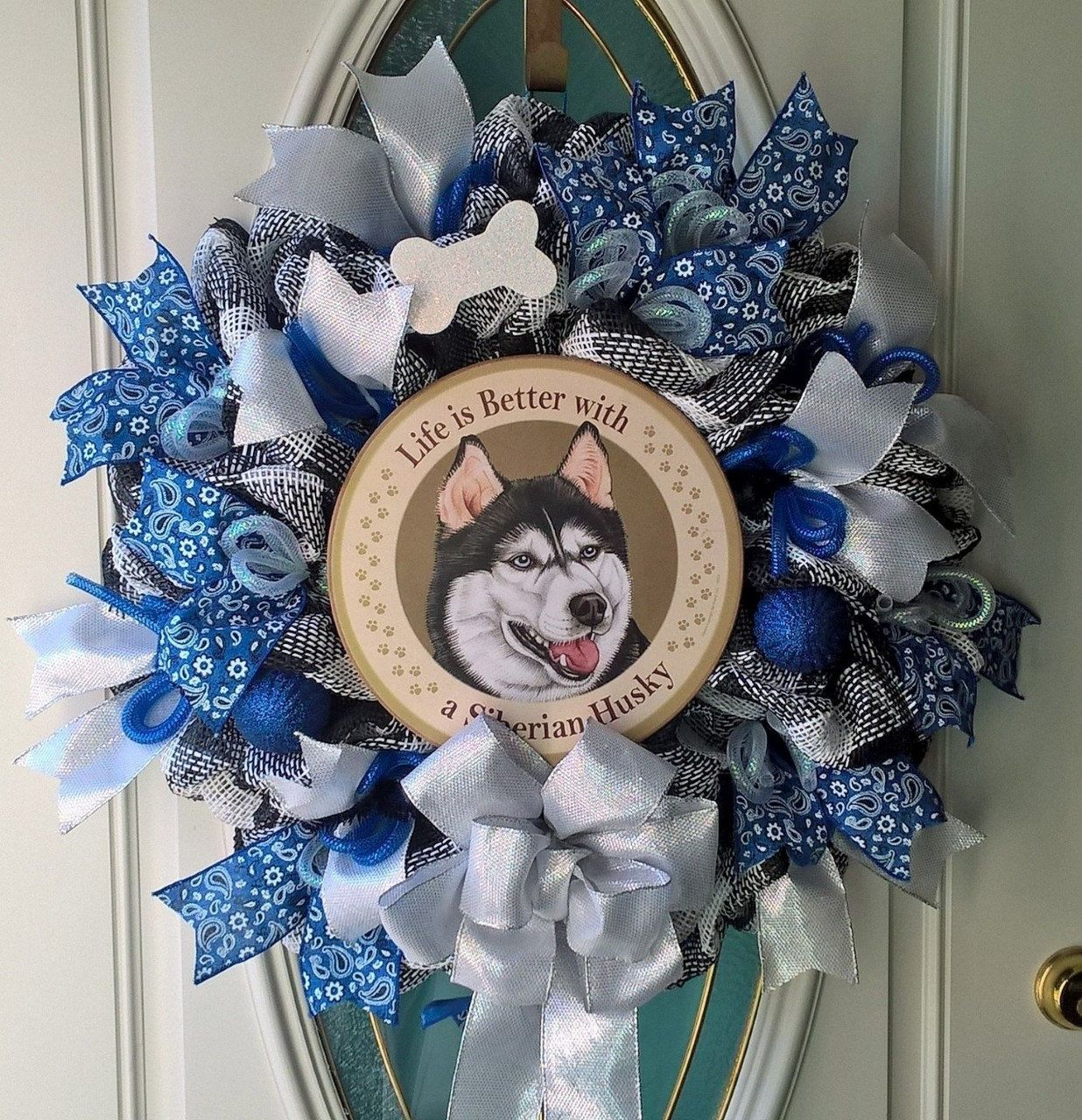 Siberian Husky Mesh Wreath Dog Door Decor Pet Wreath Handmade by MeshWreathsnMore on Etsy
