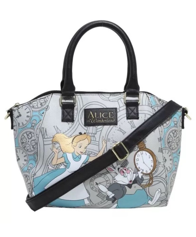 17c6bbbdf2 Loungefly Disney Alice Wonderland Large Satchel Purse Handbag Rabbit Strap   Disney