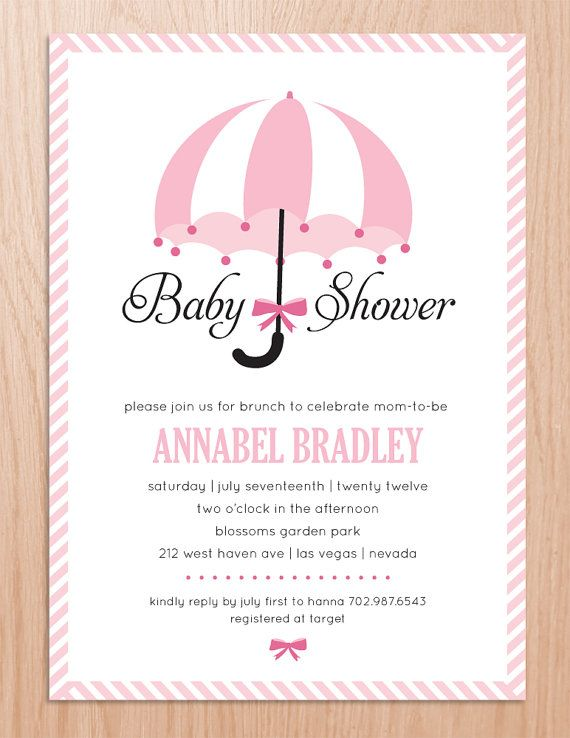 Baby Shower Invitation Umbrella Printable File By Ohmymia, $18.00