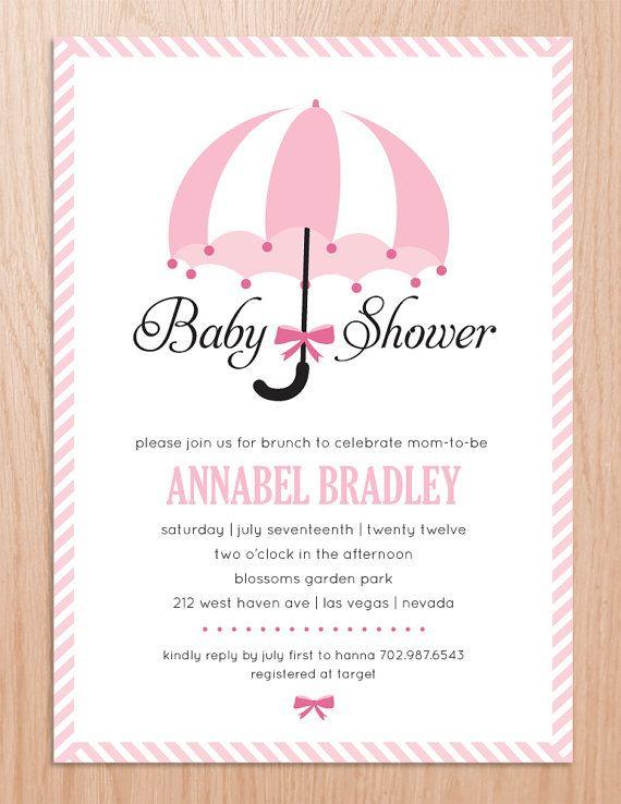 Baby Shower Invitation Umbrella Printable File By Ohmymia