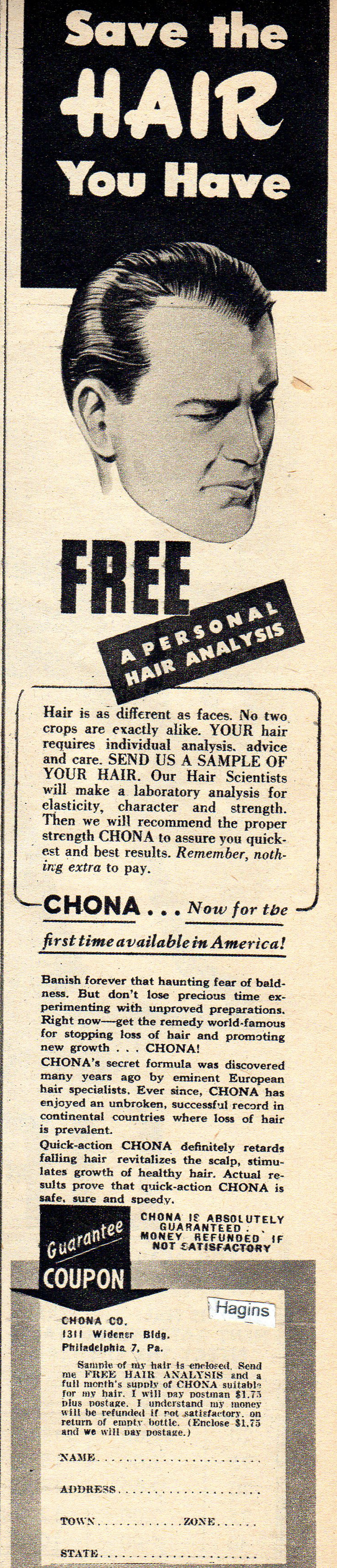 1948 ad. should have done this...might have some hair now...Hagins collection.