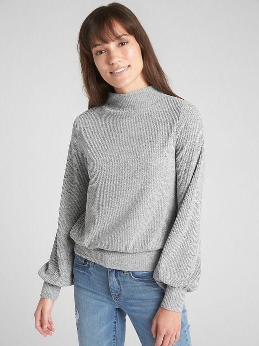 Womens Gap Grey Softspun Sleeve Blouson Mockneck Top Ribbed Light UpAHgp1