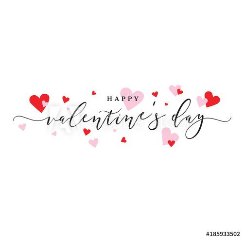 Happy Valentine S Day Vector Calligraphy With Pink And Red Hearts
