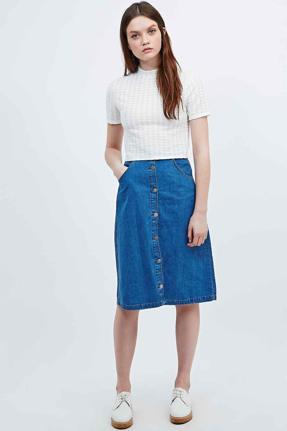 Cooperative by Urban Outfitters Denim Midi Skirt in Blue.