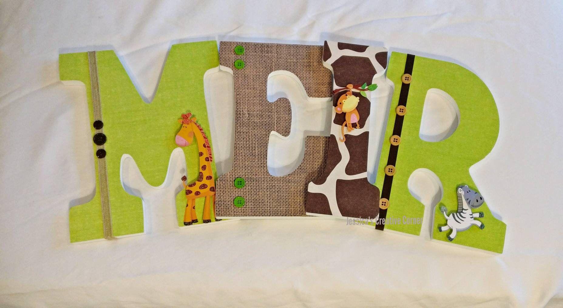 Jungle nursery wooden letters safari nursery decor jungle