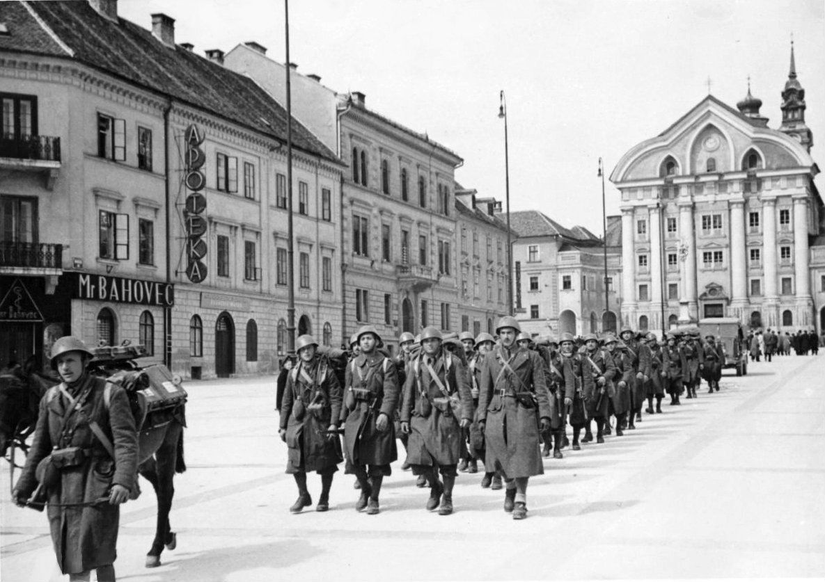 A Column Of Italian Soldiers March Through The Streets Of Ljubljana Following The Axis Invasion Of Yugoslavia And The Occ Real Pictures National History World