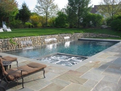 Flagstone Around The Pool Swimming Pools Backyard Inground Pool Patio Rectangular Pool
