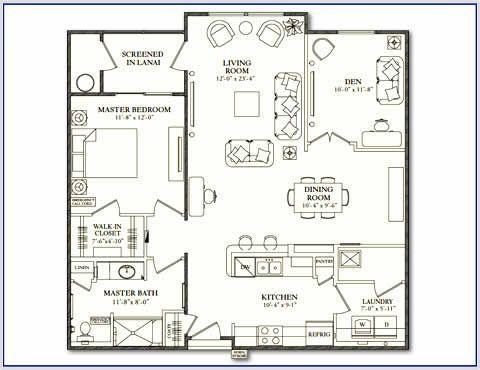 Sarasota FL 2 bedroom senior apartment floor plan at Villa Grande Sarasota. Sarasota FL 2 bedroom senior apartment floor plan at Villa Grande