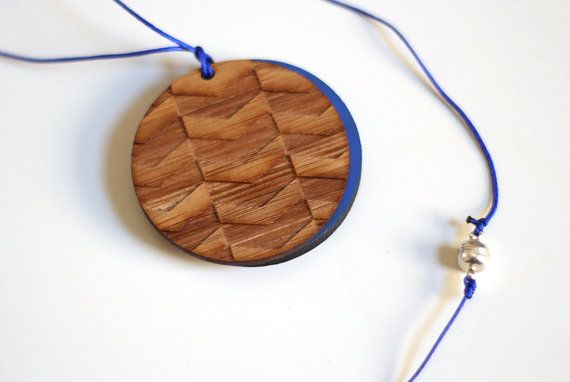 Chevron Bamboo lasercut Pendant reversible by pombypomegranate