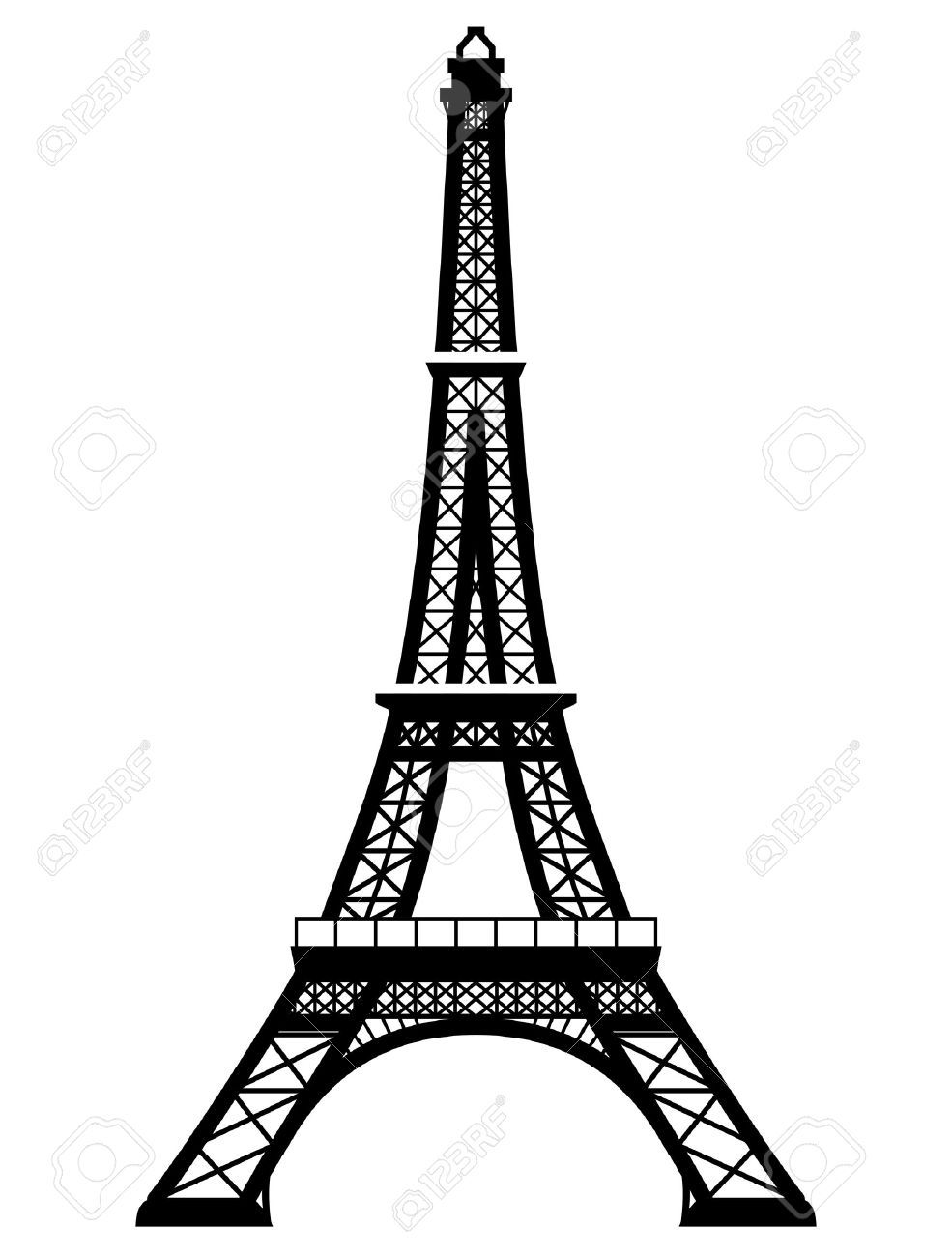 French Eiffel Tower In Black And White Color Silhouette Of Paris Eiffel Tower Black And White Colour Black And White