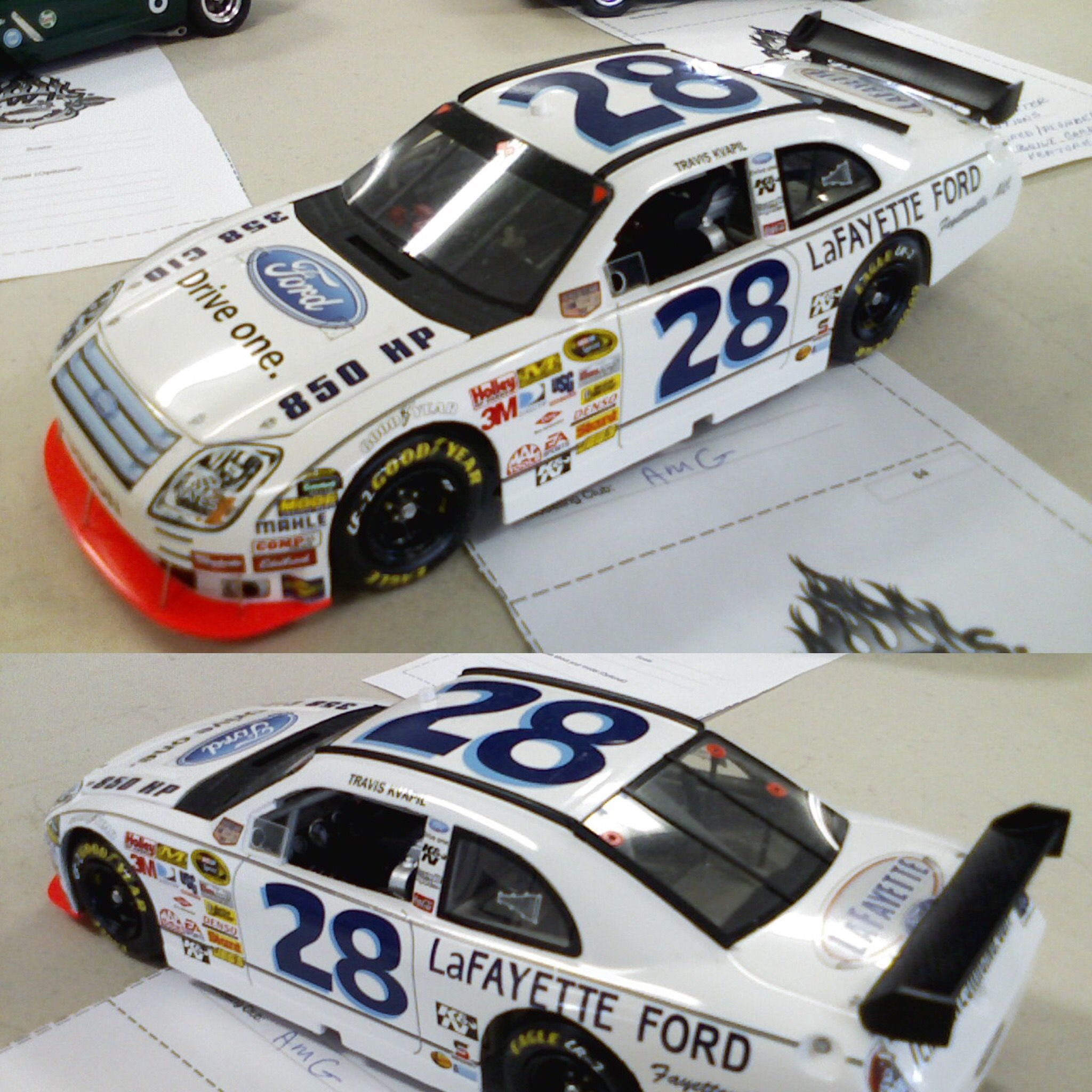 Travis Kvapil 2008 Ford Fusion With Fred Lorenzen Throwback