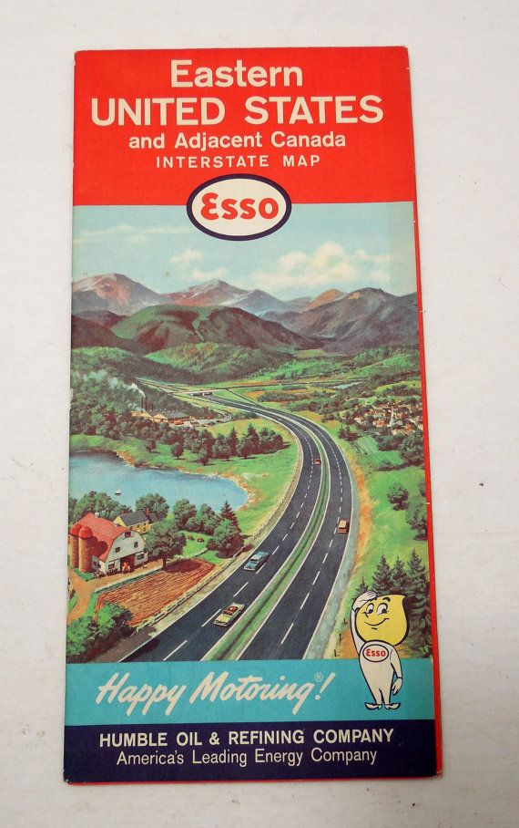 1962 Esso Road Map of Eastern United