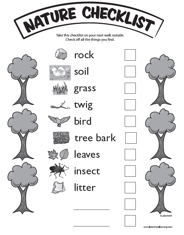 Nature Checklist At Lakeshore Learning Take The Kids On A Nature