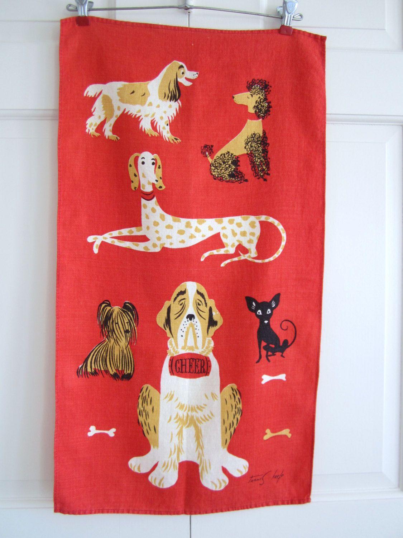 Vintage Tammis Keefe Dog Towel CHEER via Etsy.