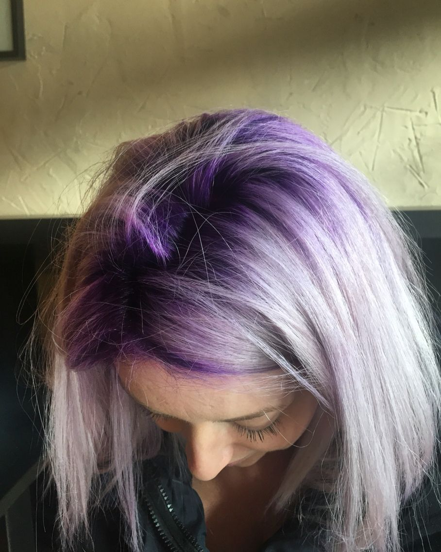 Purple Roots Blonde Hair With Roots Roots Hair Hair Color Purple