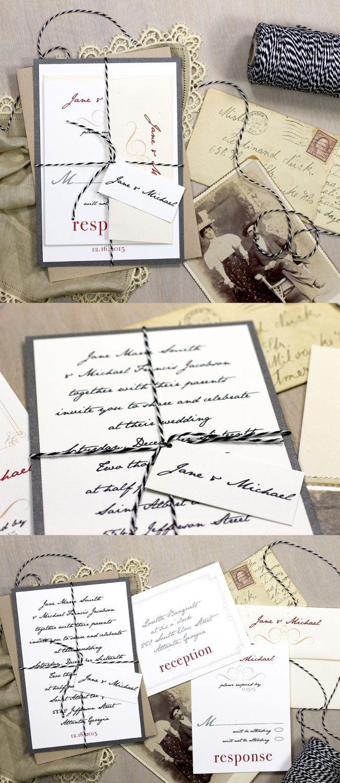 Hand Written Note - Inspired Wedding Invitations, Baker Twine ...