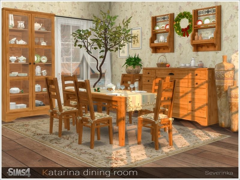 A Set Of Furniture And Decor For Decorating A Dining Room In The Country  Style.
