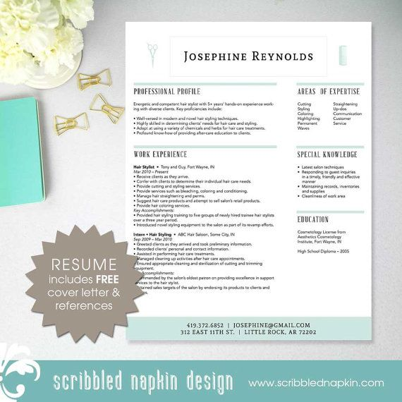 Hair Stylist Beautician Salon Cosmetology by ScribbledNapkin - beautician resume template
