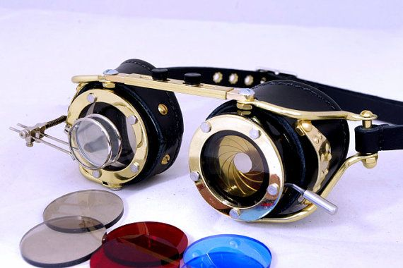 eb1515d1b3d6 Brass and leather goggles with aperture camera shutter and dual magnifier  (double magnifying glass) - Steampunk accessories for men and women - For  costume ...
