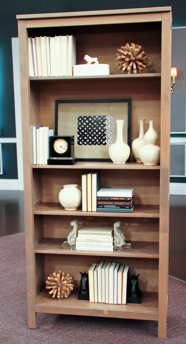 How to Style a Bookcase   Steven and Chris   For the Home     Designer and TV personality Tommy Smythe shares his bookcase styling tips   If your bookcase is low and long    Lay books flat  see below  or cluster  them