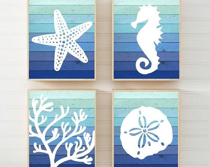 Pin By Hebat Allah Omar On Quadro De Madeira In 2020 Nautical Bathroom Decor Beach Wall Art Bathroom Wall Art