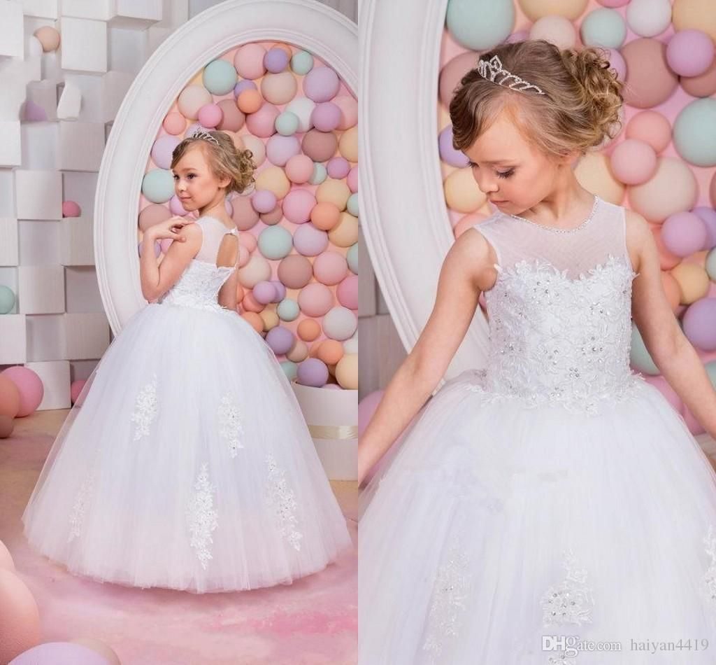 2017 New Cheap Flower Girls Dresses For Weddings Jewel Neck Lace