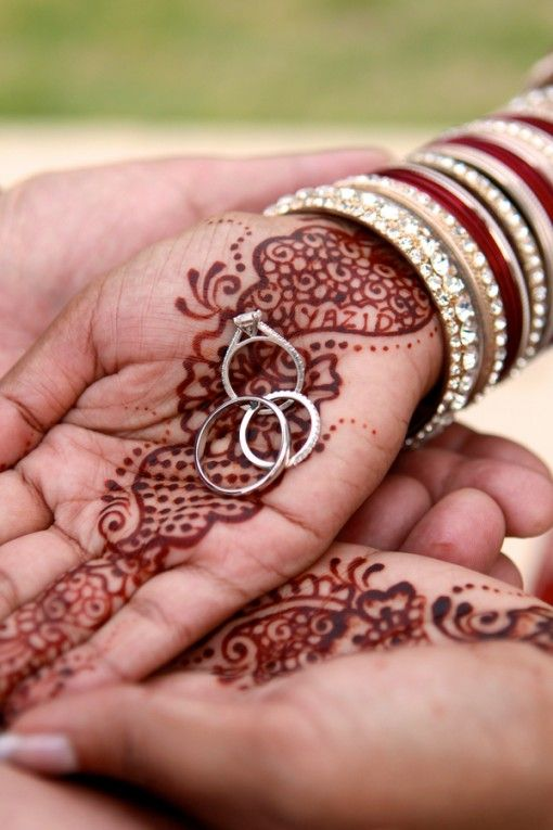 Mehndi Hands With Rings : Indian bride s hands with simple mehndi pattern and rings